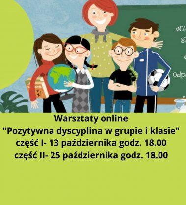 """Warsztaty online """"Pozytywna Dyscyplina w grupie i klasie"""""""